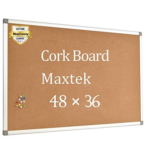 Cork Board Bulletin Board 48 x 36 Silver Aluminium Framed 4x3 Corkboard Office Board for Wall Cork Large Wall Mounted Notice Pin Board Message Cork Board