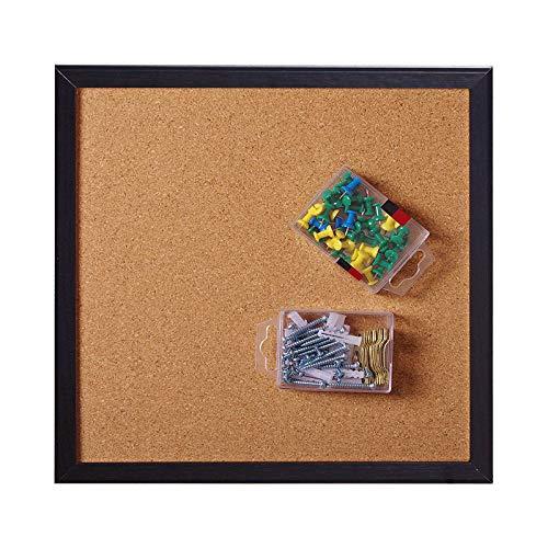 Corksidol Cork Board Bulletin Board 12X 12 Square Wall TilesModern Black Framed Corkboard for School Home Office Set Including 20 Push PinsHardware and Template 4 Pack Black