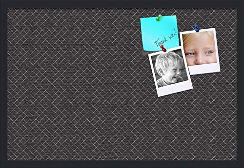 PinPix ArtToFrames 30x20 Inch Custom Cork Bulletin Board This Diamond Pattern in Black Pin Board Has a Fabric Style Canvas Finish Framed in Satin Black PinPix-120-30x20_FRBW26079