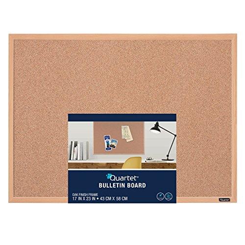 Quartet 35-380342Q Corkboard Framed Bulletin Board 17 x 23 Cork Board Oak Finish Frame Brown