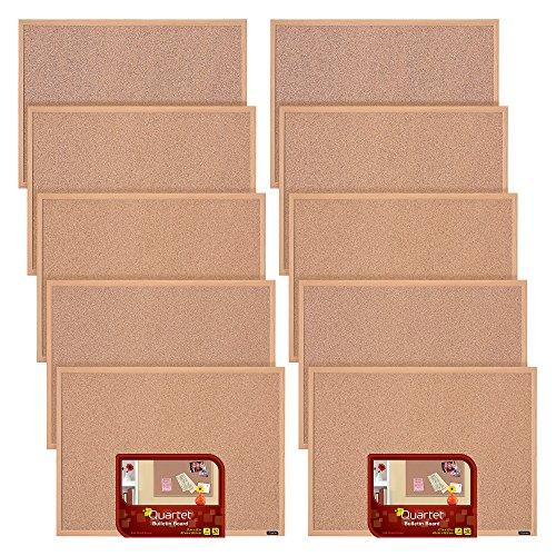 Quartet Corkboard Framed Bulletin Board 17 x 23 Cork Board Oak Finish Frame 10 Pack 35-380343Q