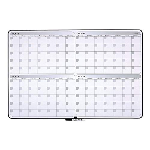 Quartet Whiteboard Planner 4-Month Planning White Board 23 x 35 Dry Erase Board Black Frame 05149SV