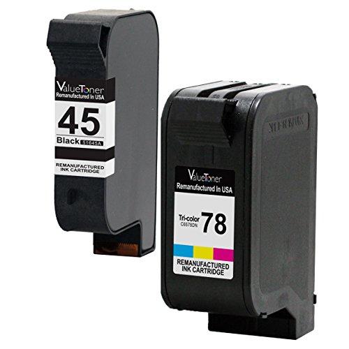 Valuetoner Remanufactured Ink Cartridge Replacement For 45 78 C8788FN 51645A C6578DN 1 Black 1 Tri-Color 2 Pack Compatible With Color Copier 180 190 280 290 310 Deskjet 1220C 1280 6122 6127