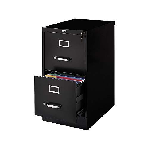Staples 357416 2-Drawer Vertical File Cabinet Locking Letter Black 22-Inch D 22335D