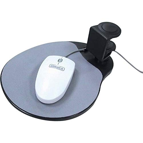 Aidata UM003B Mouse Platform Under Desk Sturdy Metal Clamp Fits Onto Desks Up To 40mm157 Platform Rotates 360 Degrees To Hide Mouse Under The Desk Built-in Cable Clip Keeps Mouse In Place Black