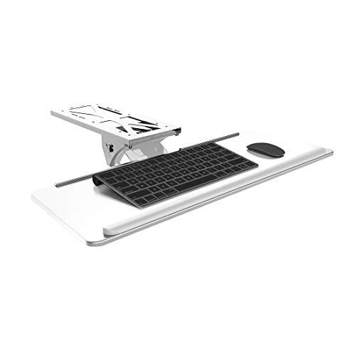 FlexiSpot Adjustable Pull Out Computer Keyboard Mouse Platform Tray Ergonomic Under Table Desk Mount Keyboard Drawer Shelf White