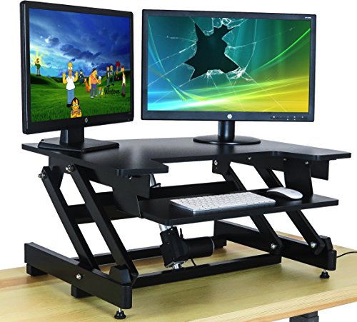 Electric Standing Desk - Just Press a Button to Raise - Adjustable Height Sit  Stand Up Desk Converter - 32in Wide