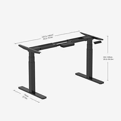 Clevr Black Electric Stand Up Desk Frame Workstation Dual Motor Ergonomic Standing Height Adjustable Base Black Desk Frame Only