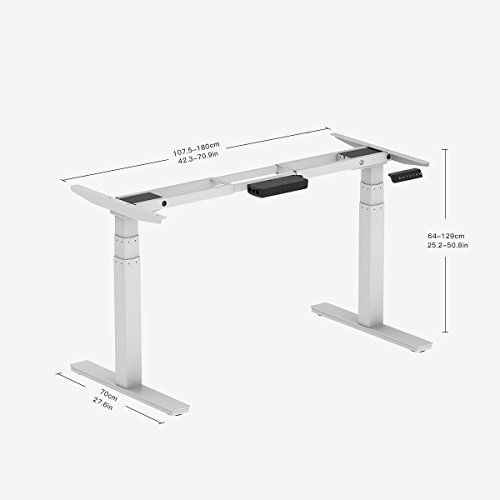Clevr White Electric Stand Up Desk Frame Workstation Dual Motor Ergonomic Standing Height Adjustable Base White Desk Frame Only