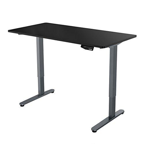FlexiSpot 48 Electric Height Adjustable Standing Desk with 55x27 inch Grey frameblack desktop
