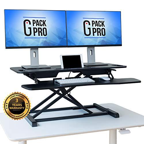 G-Pack Pro Standing Desk Converter - Height Adjustable Sit Stand Desk Riser up to 205 - Super Wide 37 Table fits Dual Monitors - 22 Ergonomic Adjustable Standing Desk Workstation Positions