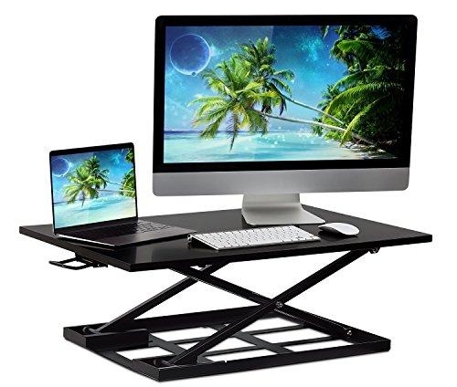 Mount-It Standing Desk Converter Height Adjustable Sit Stand Desk 32x22 Inch Preassembled Stand Up Desk Converter Ultra Low Profile Design Black