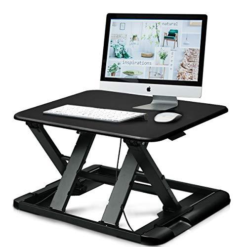 Tangkula Standing Desk Height Adjustable Sit Stand Desk Desktop Elevating PC Laptop Workstation Home Office Desk Riser Stand Desk