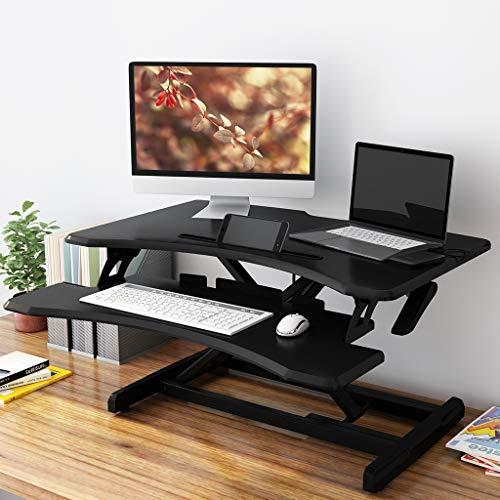 SLYPNOS Height Adjustable Sit to Standing Desk Converter Riser 285 Inches Wide Ergonomic Workstation Black