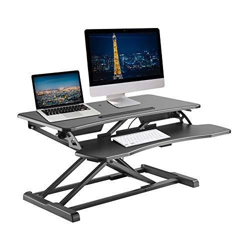 TechOrbits Standing Desk Converter - 32 Height Adjustable Stand Up Desk Riser - Sit to Stand Desktop Workstation
