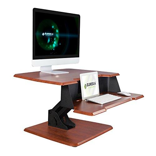 Eureka Ergonomic Next Generation Single Arm Height-Adjustable Sit-Stand Desk Top Corner Desk Converter No Assembly Required 31-12-Inch-Wide Cherry