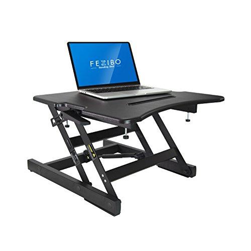FEZIBO Standing Desk Converter Height Adjustable Sit Stand Desk Riser 22 Ergonomic Laptop Workstation