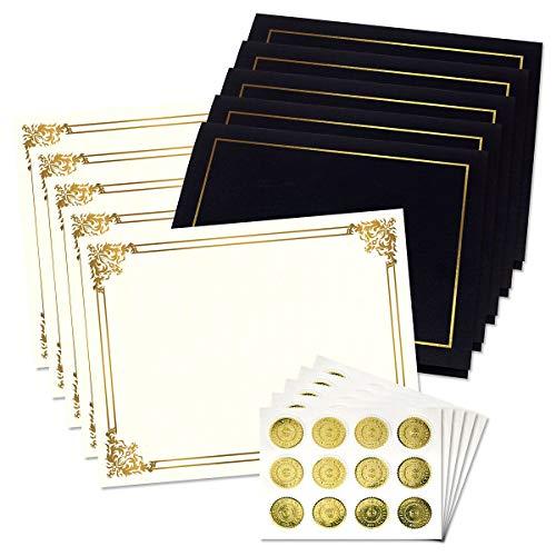 Ornate Empire Award Certificate Collection - Includes 25 Certificate Papers WhiteGold 25 Heavy Linen Folders BlackGold 25 Gold Foil Seals Laser Inkjet Printer Compatible