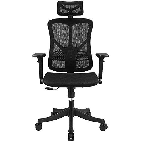 Argomax Ergonomic Mesh Office Chair High Back with Adjustable HeadrestTilt BackTensionLumbar Support3D ArmrestSeat High End Argomax Computer Desk Chair 360 Swivel Self Classic Black