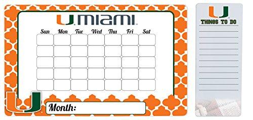 Miami Hurricanes 9 x 15 Moroccan Dry Erase Calendar and 4 x 10 Dry Erase Board
