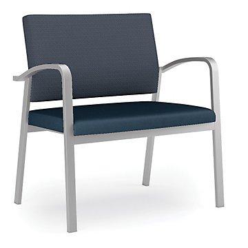 Newport Bariatric Guest Chair wFabric Back&Vinyl SeatNoir Fabric BackBlack Vinyl SeatSilver Frame