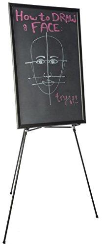 24 x 36-Inch Chalkboard with Floor Presentation Easel and Snap Frame Folds Adjustable Black Aluminum