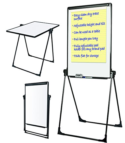 MasterVision Presentation Easel Footbar Folds-to-a-Table Dry Erase 29 x 41 Black