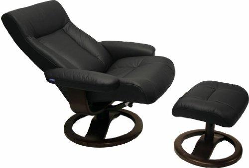 ScanSit 110 Black Leather Recliner Norwegian Ergonomic Scandinavian Lounge Reclining Chair 110 ScanSit Small Recliner Furniture Teak Wood by Hjellegjerde