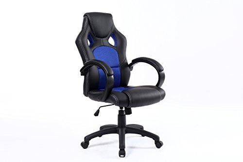BTExpert ExecutiveHigh BackSwivelRacingPU LeatherOffice Chair Ergonomic Gaming Computer Desk Bucket Seat Tilt Height Adjustment Headrest Lumbar Blue