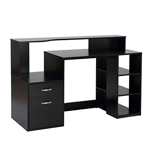 HomCom 55 Multi-Shelf Dorm and Home Office Computer Desk - Black