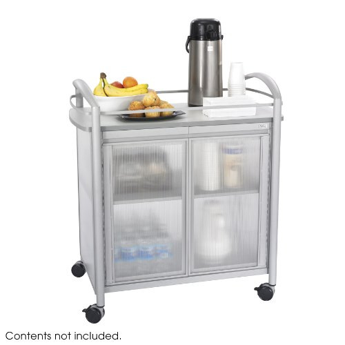 Safco Products Impromptu Refreshment Cart 8966GR Gray 200 lbs Capacity Double Doors Swivel Wheels