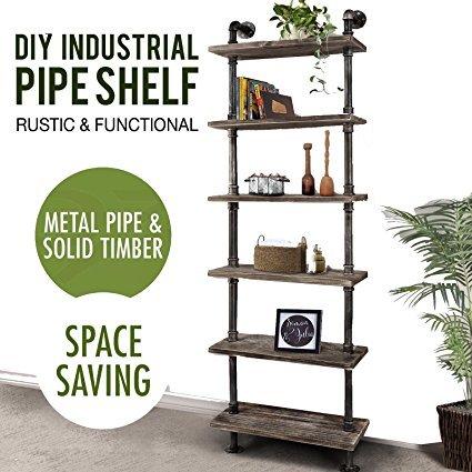 36 Industrial Pipe design Metal&Wood shelf rack Toilet holder
