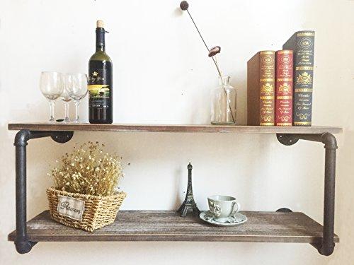 Industrial Rustic Wood Wall Mounted Iron Pipe Shelf Hung Bracket Kitchen Wood Wall Shelf 36