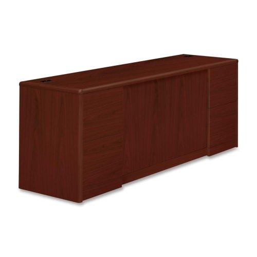 HON 10700 Series Credenza with Doors File Pedestals - 72 Width x 24 Depth x 295 Height - 4 - 2 Door - Double Pedestal - Waterfall Edge - Wood - Laminate Mahogany