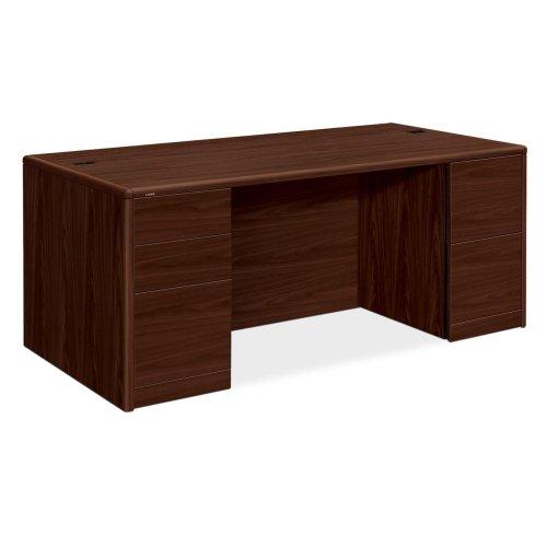 HON 10700 Series Double Pedestal Desk - 72 Width x 36 Depth x 295 Height - 5 - Double Pedestal - Waterfall Edge - Wood - Laminate Mahogany