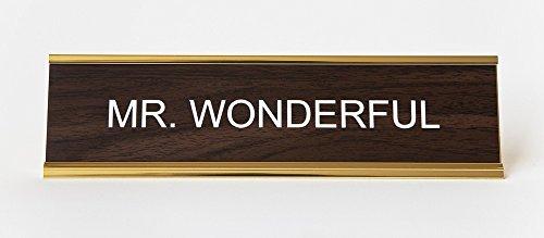 Mr Wonderful Engraved Office NameplatePlaque 2 x 8