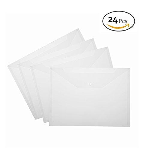 GEORLD 24 Pcs Waterproof Transparent Poly Envelope with Snap Button ClosureDocument Folder Project Envelope File Folder A4 Letter Size