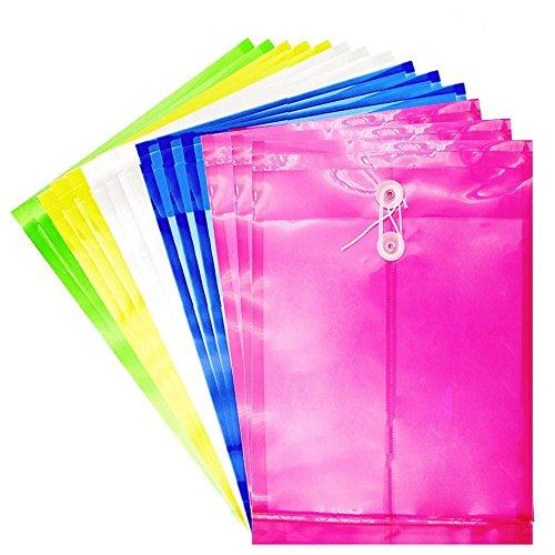 Plastic Envelopes Poly String Envelope - 20 Pack String Project Envelope with Expandable Gusset Plastic Folders