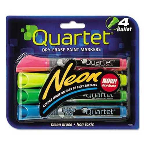 Dry-Erase Bullet Tip Markers 4Pkg-Neon Assorted