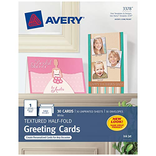 Avery Printable Half-Fold Greeting Cards 55 x 85 Inches Inkjet Printers 30 Blank Cards 3378 - White