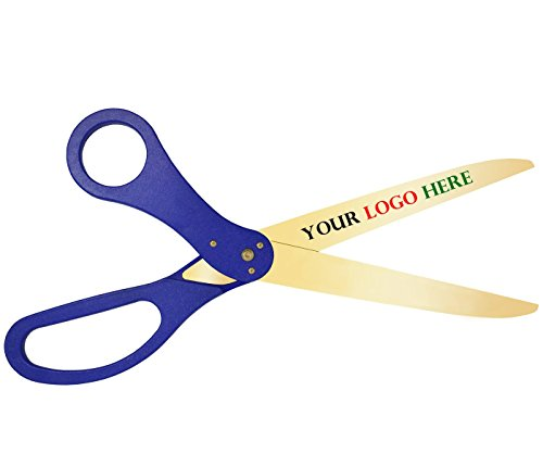 Custom Logo Ribbon Cutting Scissors - 30 Inch Long Blue Handles Gold Color Blades