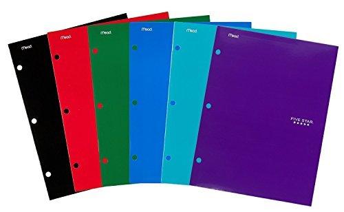 Five Star Pocket Folders 4-Pocket 12-12 x 9-12 Assorted Colors 12 Pack