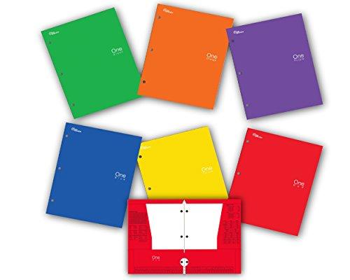 New Generation - One - 4 Pocket Folder  Portfolio  6 PACK  Heavy Duty 3 Hole Punch - Assorted 6 Fashion colors folders UV Glossy Laminated