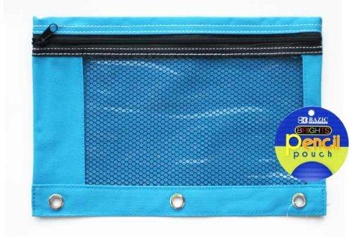 BAZIC Bright Color 3-Ring Pencil Pouch w Mesh Window BLUE