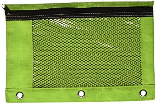 BAZIC Bright Color 3-Ring Pencil Pouch w Mesh Window GREEN