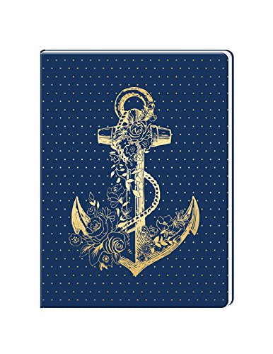 Gold Foil Navy Anchor 6 x 8 Lined Soft Cover Faux Leather Journal by Lady Jayne