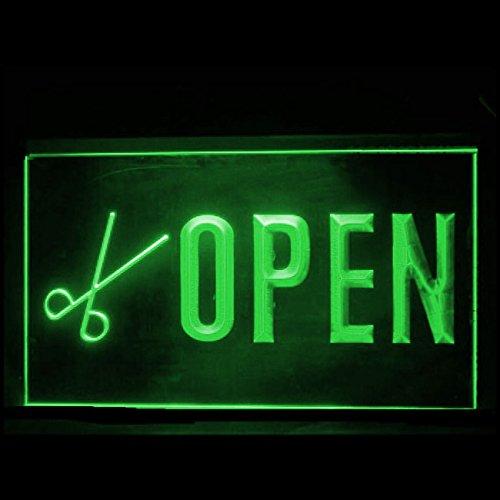 OPEN Scissors Hair Cut Salon Barber Hair design WelcomeLED Light Sign 160114 Color Green