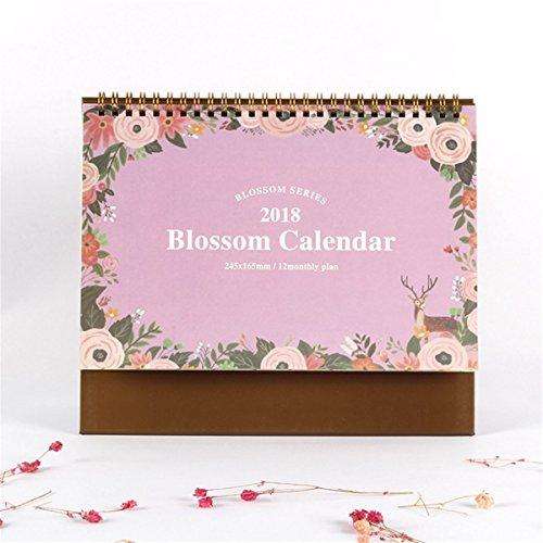 Caveen 2018 Standing Desk Calendar Daily Weekly Monthly Desktop Agenda Planner Small Fresh Lovely Style Calendar For Home Office Light Pink