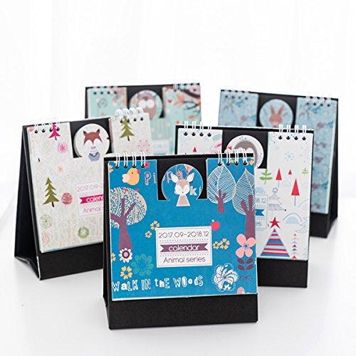 Caveen Standing Desk Calendar 2018 Daily Weekly Monthly Desktop Agenda Planner Small Fresh Lovely Style Calendar For Home Office Heart Fox