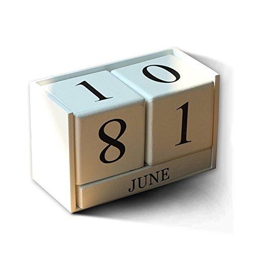 Hangnuo Creative Wooden Blocks Perpetual Desk Calendar Home Decoration White